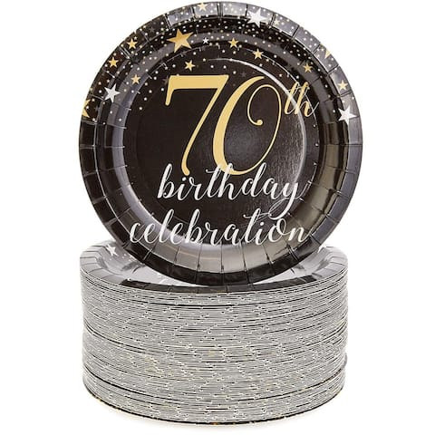 """Sparkle and Bash 70th Birthday Paper Plates (80 Count), 7"""", Gold Black"""