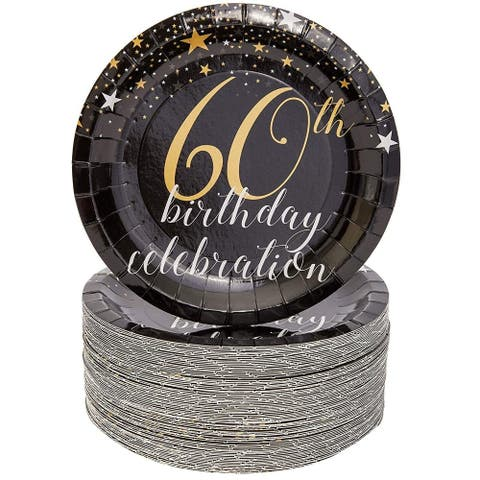 """Sparkle and Bash 60th Birthday Paper Plates (80 Count), 7"""", Gold Black"""