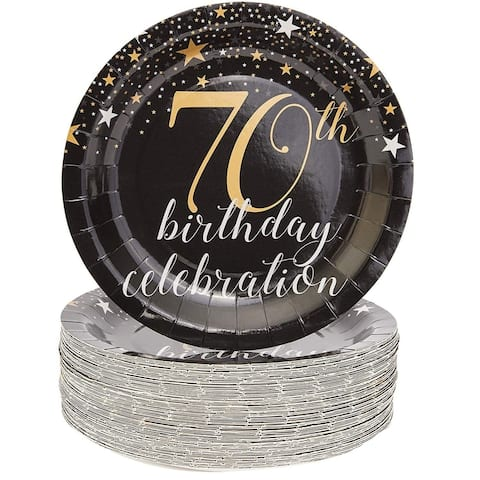 """Sparkle and Bash 70th Birthday Paper Plates (80 Count), 9"""", Gold Black"""