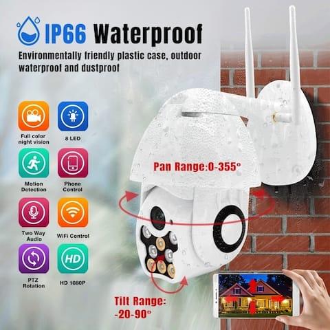 8 LED 1080P WiFi Security Camera IP Camera Waterproof Full-color Night Vision Audio IR Surveillance Outdoor Security Camera