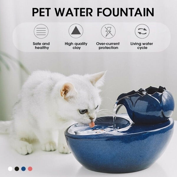 Coutlet Ceramic Pet Water Fountain Automatic Drinking Fountain Circulating Water Dispenser Cat Dog
