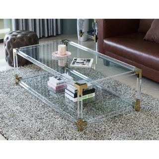 Rectangular Acrylic Modern Gold Metal Coffee Table with Tempered Glass and Shelf
