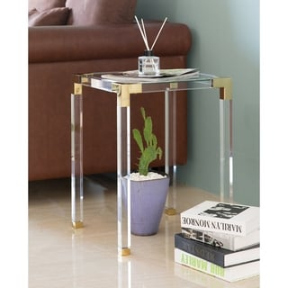 Square Acrylic Gold Metal Modern Tempered Glass End Side Table