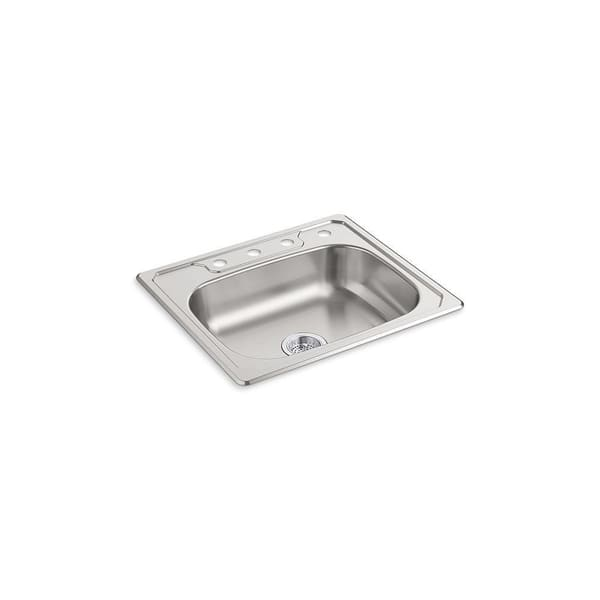 Shop Sterling Middleton 25 In Single Bowl Drop In 20 Gauge Stainless Steel Kitchen Sink On Sale Free Shipping Today Overstock 30022945 Four Holes