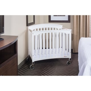 """Royale Folding Fixed-Side Compact Crib, Slatted w/ 4"""" Casters"""