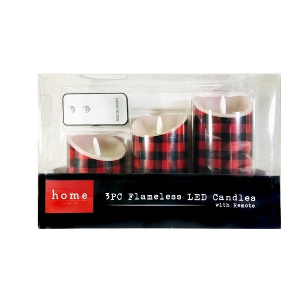 Home Trends Flameless LED Candles with Remote 3 PC Set Buffalo Check Red Black