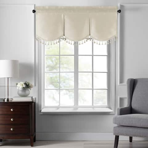 Gracewood Hollow Fukuyama Faux Silk Tassel Scalloped Window Valance