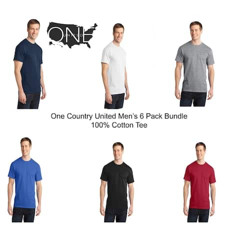 One Country United Men's (6 PACK) 100% Cotton Tee - Assorted Colors
