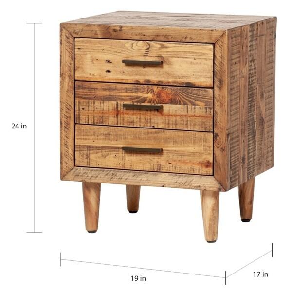 Carbon Loft Alapaki Reclaimed Pine 3-drawer Nightstand