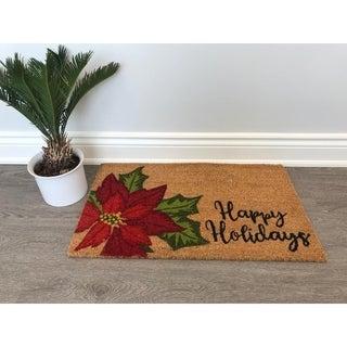Happy Holidays Flower Non-Slip Outdoor Door Mat