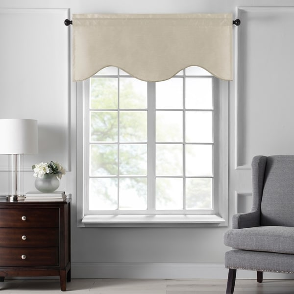 """Gracewood Hollow Foster Faux Silk Scalloped Window Valance - 50""""x21"""". Opens flyout."""