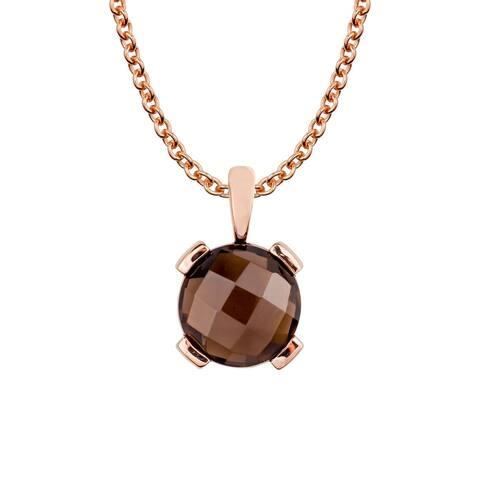 Viducci 10k Rose Gold Genuine Round Smoky Quartz Pendant Necklace