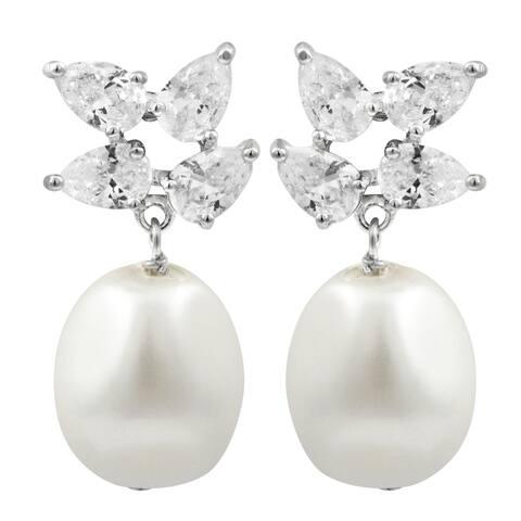 Luxiro Sterling Silver Flower Cubic Zirconia Dangling Shell Pearl Earrings