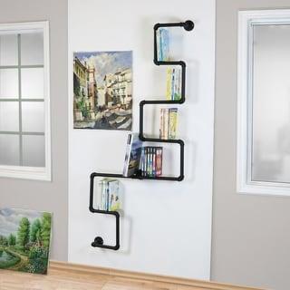 Carbon Loft Foronjy Black Right Angle Scaffold Wall Shelf Bookshelf