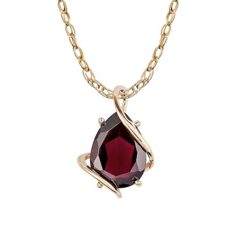 Viducci 10k Yellow Gold Genuine Pear-shape Garnet Tear-Drop Pendant Necklace