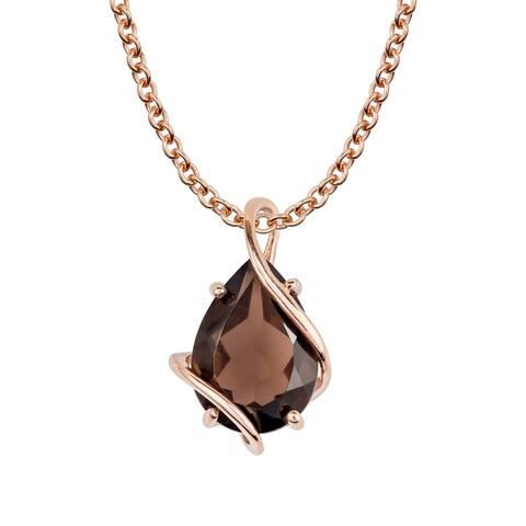 Viducci 10k Rose Gold Genuine Pear-shape Smoky Quartz Tear-Drop Pendant Necklace