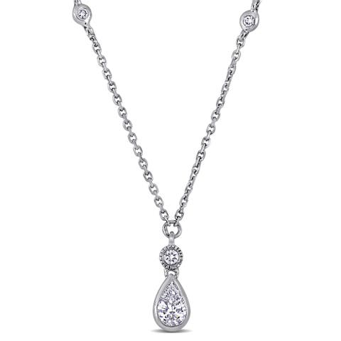 Miadora 14k White Gold 1/3ct TDW Diamond Teardrop Lariat Dangle Necklace