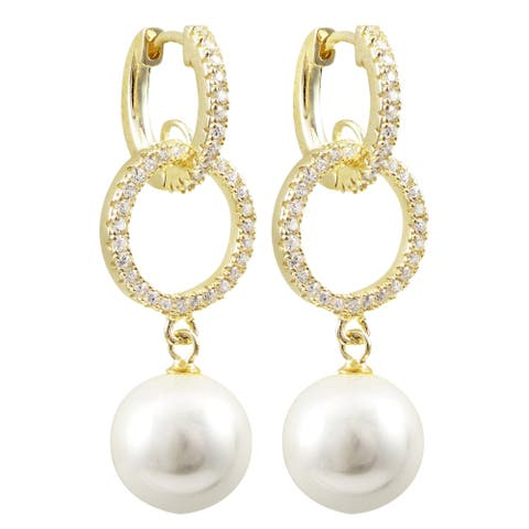 Luxiro Sterling Silver White Cubic Zirconia Dangling Shell Pearl Earrings