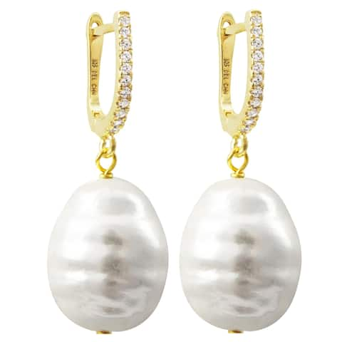 Luxiro Sterling Silver Oval Baroque Shell Pearl with CZ's Dangling Earrings