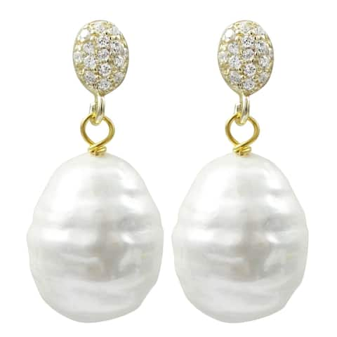 Luxiro Sterling Silver Oval Baroque Shell Pearl with CZ's Post Earrings