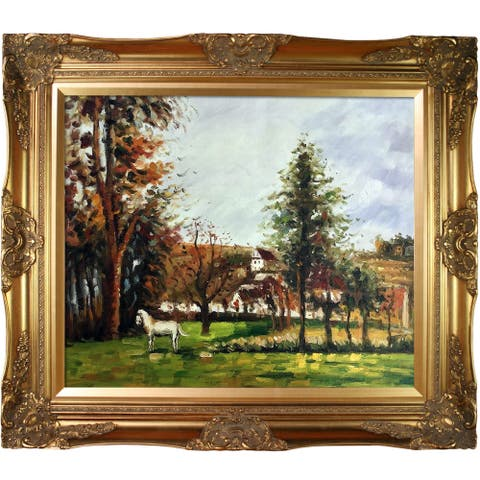 """La Pastiche by overstockArt Landscape with a White Horse in a Meadow with Victorian Gold Frame Framed Oil Painting, 32"""" x 28"""""""