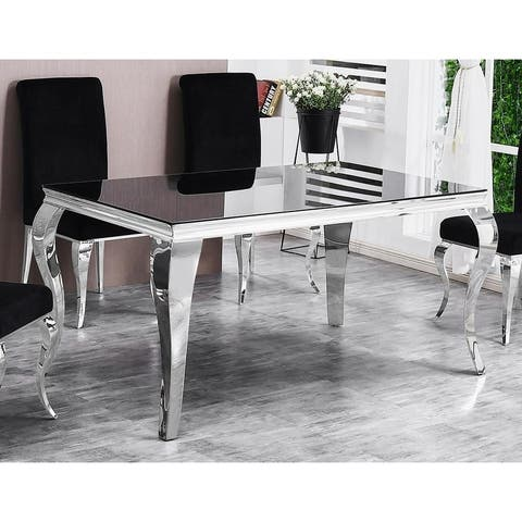 Best Master Furniture Smoked Glass Rectangular Dining Table