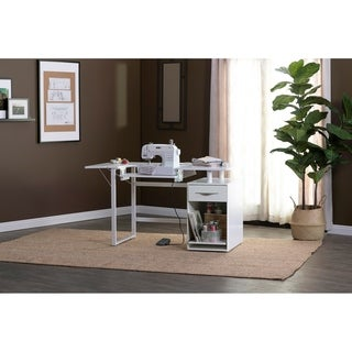 Link to Sew Ready Pro Line Craft, Sewing, Office Desk with Drawer and Sliding Shelf in Storage Cabinet in White Similar Items in Sewing & Quilting