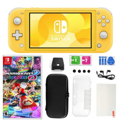 Nintendo Switch Lite Yellow with Mario Kart 8 Deluxe, Accessories Kit