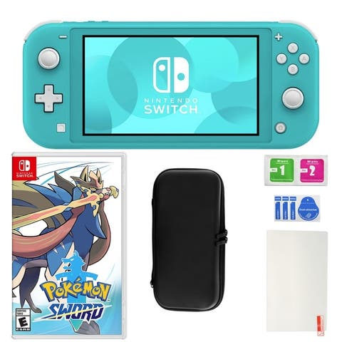 Nintendo Switch Lite in Turquoise with Pokemon Sword and Accessories