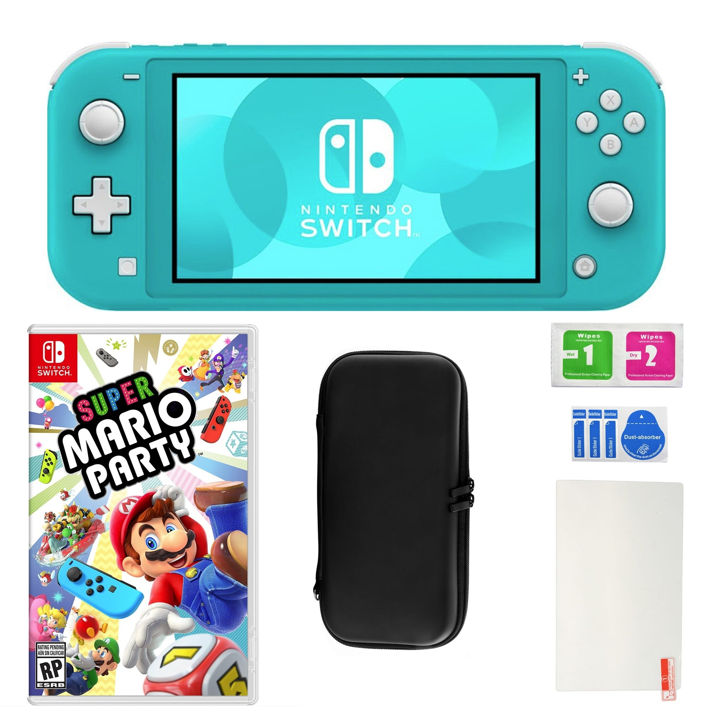 Nintendo Switch Lite In Turquoise With Mario Party And Accessories N A