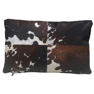 Brown & White Rectangular Cowhide Pillow DEXTER