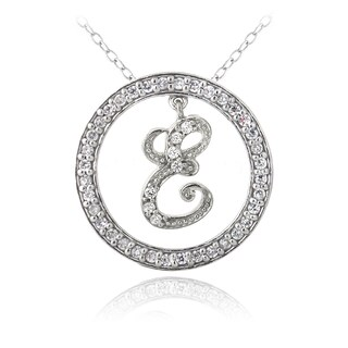 Icz Stonez Sterling Silver Cubic Zirconia Initial Necklace (More options available)