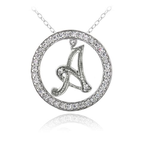 Icz Stonez Sterling Silver Cubic Zirconia Initial Necklace