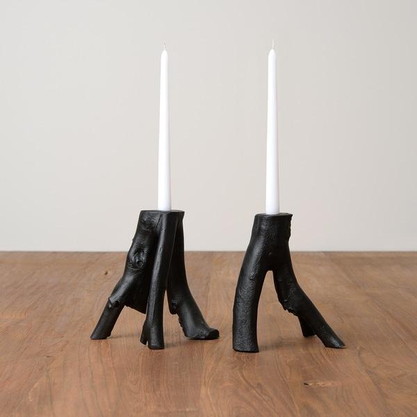 Aurora Home Teak Candle Holders