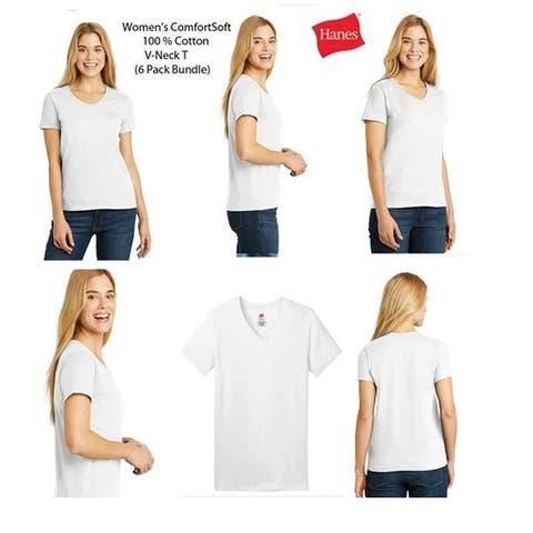 Hanes Women's V-Neck (6 PACK) ComfortSoft 100% Cotton T, White