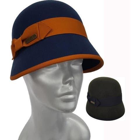 Women's cloche Wool Felt fedora fall winter packable Hat