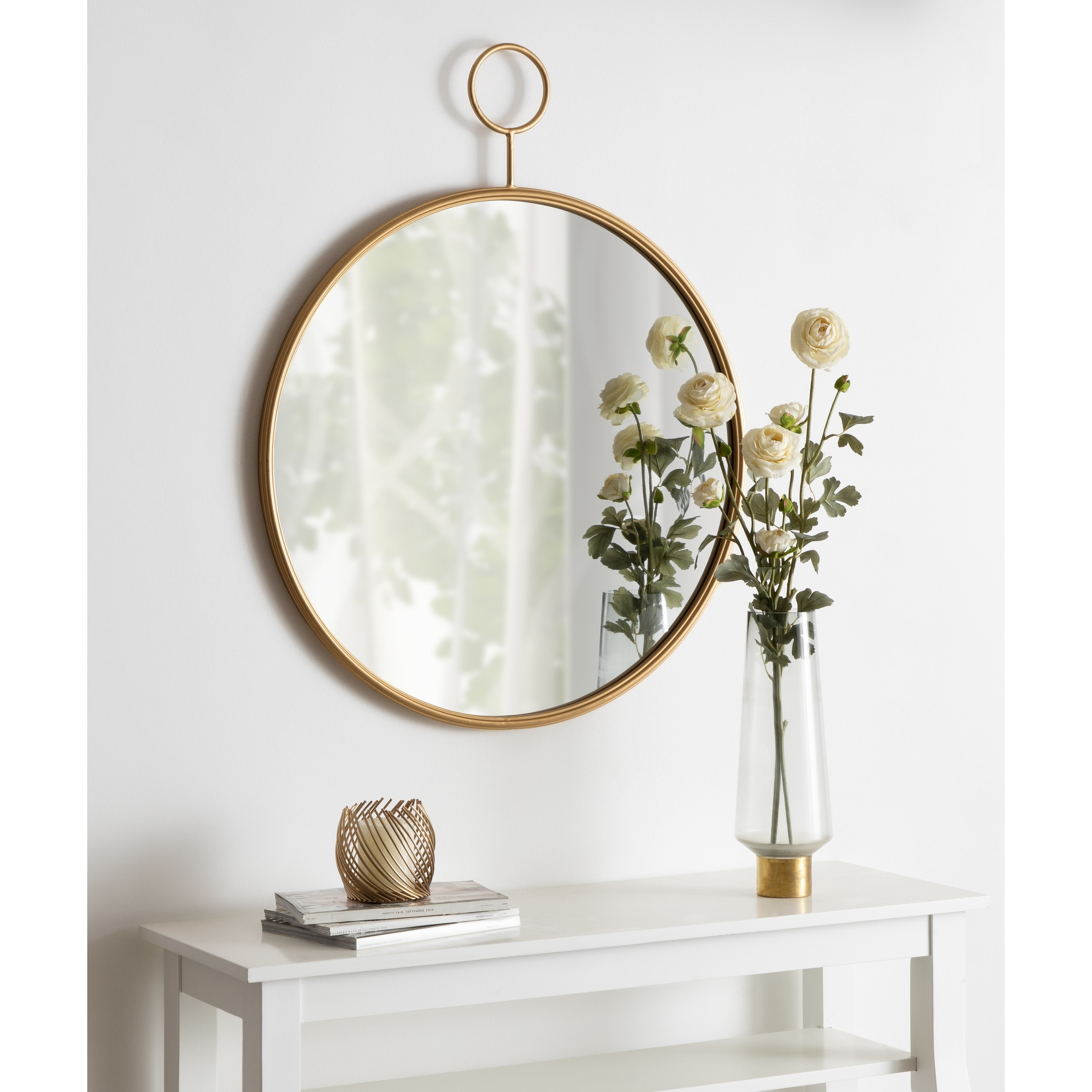 Image of: Shop Black Friday Deals On Kate And Laurel Chayce Mid Century Modern Round Wall Mirror Gold 30×37 75 Overstock 30025019