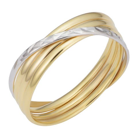 14K Two-Tone Gold Polished Diamond-cut Crossing Band Ring for Women