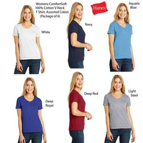 Hanes Women's V-Neck (6 PACK) ComfortSoft 100% Cotton T, Colors