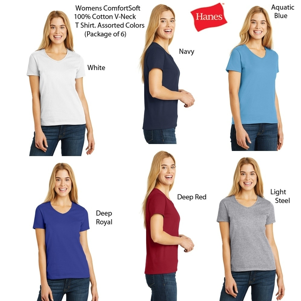 Hanes Womens V-Neck (6 PACK) ComfortSoft 100% Cotton T Colors