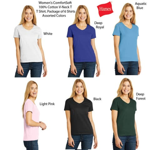 Hanes Women's V-Neck (6 PACK) ComfortSoft 100% Cotton T, Colors