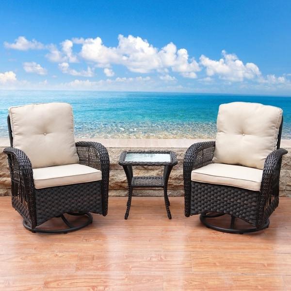 3-piece Wicker Swivel Conversation Set by Havenside Home. Opens flyout.