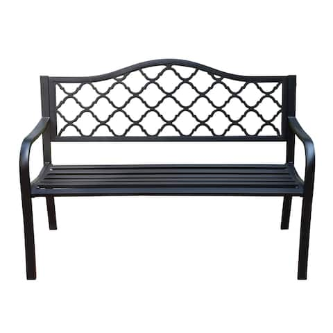 Aumo Matte Black Steel Patio Bench by Havenside Home