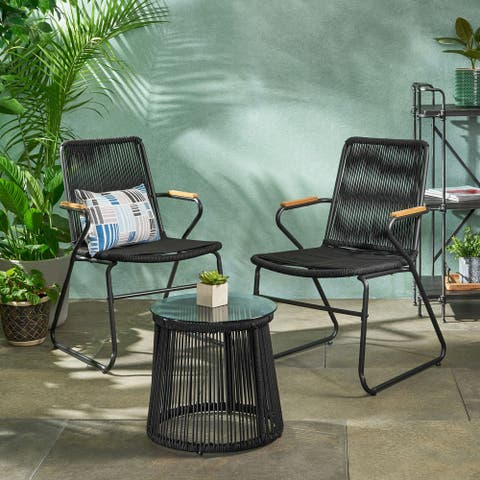 Moonstone Modern Outdoor Rope Weave Chat Set with Side Table by Christopher Knight Home