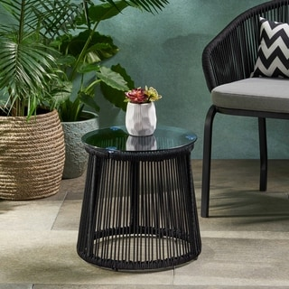 Moonstone Modern Outdoor Rope Weave Side Table with Tempered Glass Top by Christopher Knight Home