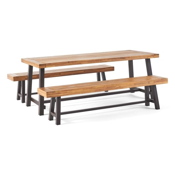 Carlisle Outdoor Acacia Wood Picnic Dining Set by Christopher Knight Home. Opens flyout.