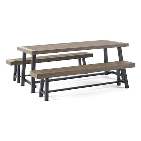 Carlisle Outdoor Acacia Wood Picnic Dining Set by Christopher Knight Home