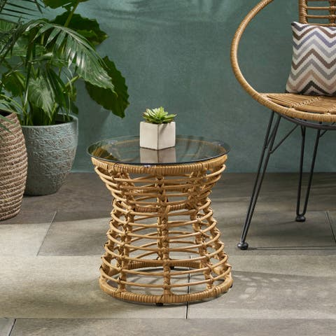 """San Pedro Outdoor Wicker Side Table by Christopher Knight Home - 15.50"""" W x 15.50"""" L x 15.50"""" H"""