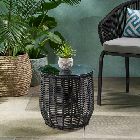 """Boynton Outdoor Wicker Side Table with Tempered Glass Top by Christopher Knight Home - 15.50"""" W x 15.50"""" L x 15.50"""" H"""