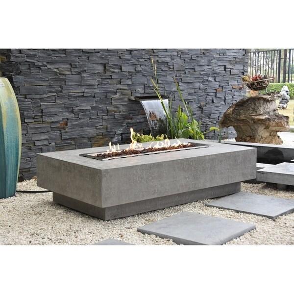 Elementi Hampton Travertine Concrete NG 45,000 BTU Auto-Ignition Table
